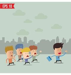 Business cartoon team group with leader vector