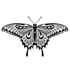 Butterfly black white silhouette design vector