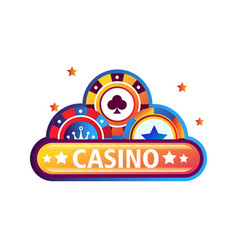 casino promo emblem with bright chips for poker vector image
