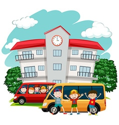 Children riding van to school vector
