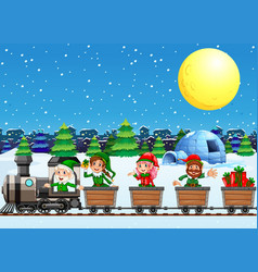 Christmas elves on train at night vector