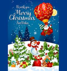 christmas holiday santa flying on air balloon vector image