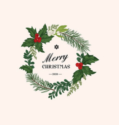 christmas wreath with winter plants vector image