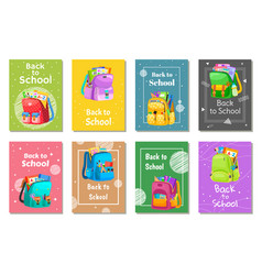colored school backpack back to school vector image