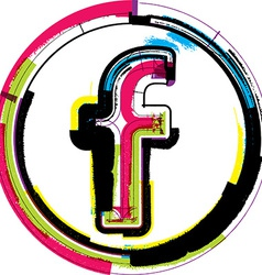 Colorful grunge font letter f vector