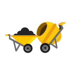 Construction wheelbarrow concrete mixer vector