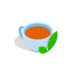 Cup of tea with mint leaf icon isometric 3d style vector image