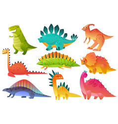 Cute dino dinosaur dragon wild animals character vector