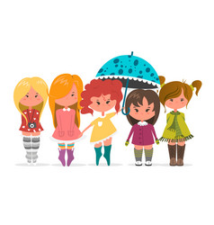 cute girls set flat beautiful vector image