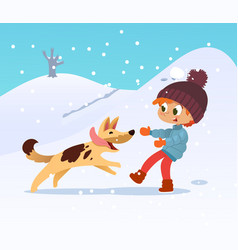 cute smiling little boy playing with the dog at vector image