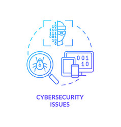 Cybersecurity issue blue gradient concept icon vector