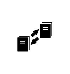 data transfer icon black vector image