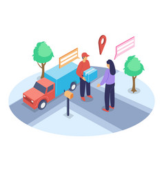 delivery handover isometric co vector image