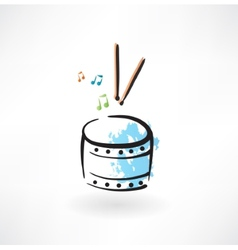 drum grunge icon vector image
