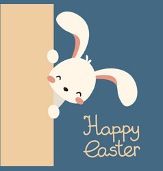 Easter bunny rabbit peek out lettering vector
