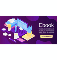 Ebook concept background isometric style vector