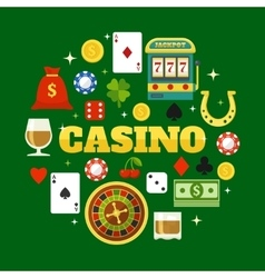 Elements Of Casino Flat Icons Set vector image