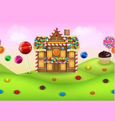 fantasy candyland with gingerbread vector image