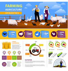 Farming flat infographics vector