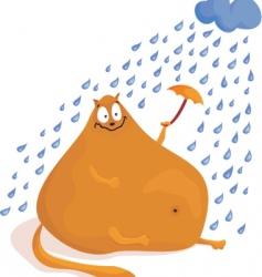 fat cat under rain vector image