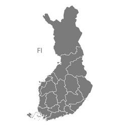 Finland regions map grey vector