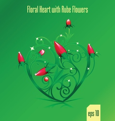 floral green heart vector image vector image