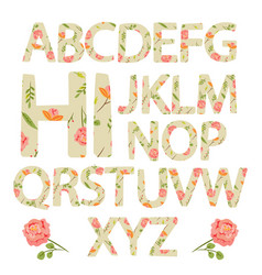 Flower alphabet with rose flowers and leaves vector