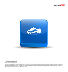 football boot icon - 3d blue button vector image