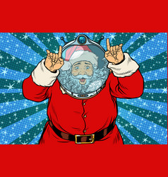 funny santa claus astronaut makes faces vector image