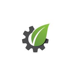 gear leaf logo vector image