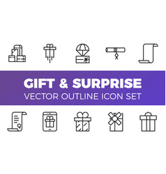 Gift and surprise icons set outline style vector