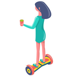 Girl with cup balancing on segway eco vector