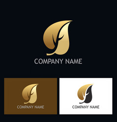 Gold leaf beauty logo vector