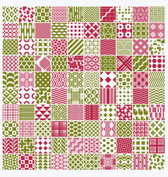 graphic red and green ornamental tiles collection vector image