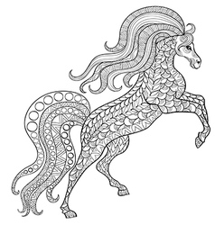 Hand drawn horse for antistress coloring page vector