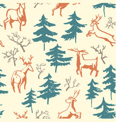 hand drawn winter seamless pattern with deer and vector image