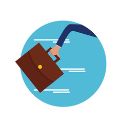hand hold briefcase run vector image