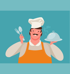 happy chef holding a tray food restaurant vector image