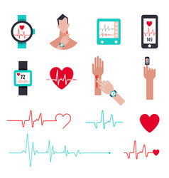 heart rate monitor for running set icons vector image