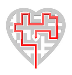 heart shape maze with red path to center vector image