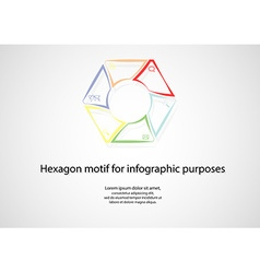Hexagonal infographic consits of lines on light vector
