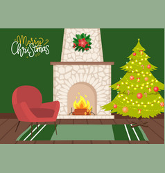 Interior design a room decorated for christmas vector