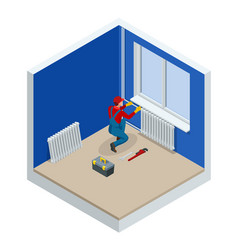 isometric professional plumber worker installing vector image