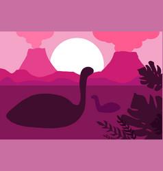 Jurassic landscape minimalistic flat vector