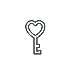 Key love heart icon line design vector