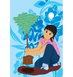 kid plant tree vector image