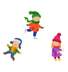kids playing snowball ice skating in winter vector image