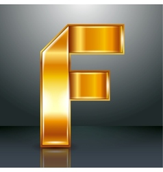 Letter metal gold ribbon - F vector