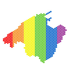 Lgbt spectrum pixel spain mallorca island map vector