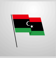 Libya waving flag design background vector